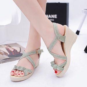 Wedge Heel Adjustable Buckle Sandals